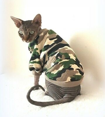 adult long sleeves CAMO ARMY cat jumper for a Sphynx  cat, clothes, jumper
