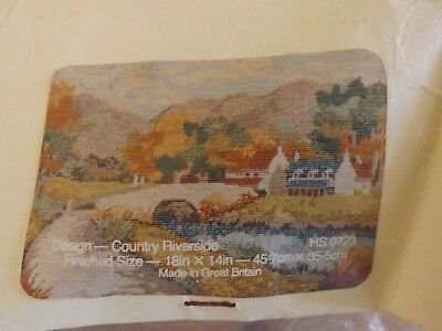 "Anchor Stencilled Wool Tapestry Canvas ""Country Riverside"" 1991 NO WOOLS"