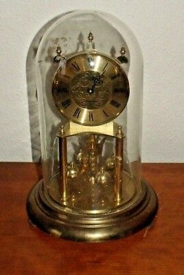 Vintage Kundo Anniversary Clock  Glass Dome Battery Operated For Spares