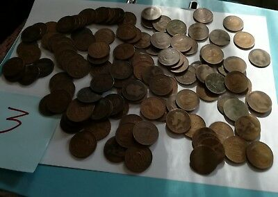 job lot of old half pennies mixed grades x120