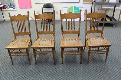 Set of 4 Oak Dining Chairs~~~Pressed Back~~Cane Bottom circa1900