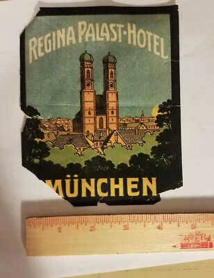 Regina Palast Hotel Munchen Germany luggage tag suitcase sticker antique vintage