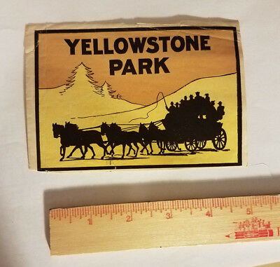Yellowstone National Park USA luggage tag suitcase sticker antique vintage