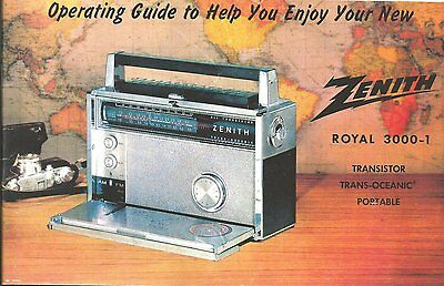 Zenith Trans-oceanic Royal 3000-1 Owner's and Service/Parts Manual-Free Shipping