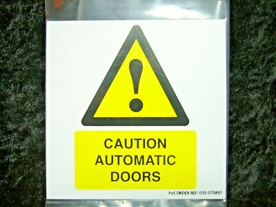 Caution Automatic Doors Self Adhesive Notice Warning Sign 575897 PVC 100x100mm