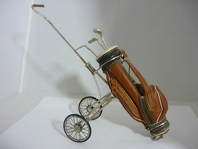 Stunning Vintage Sacchetti Large Sterling Silver & Leather Golf Bag/Cart & Clubs