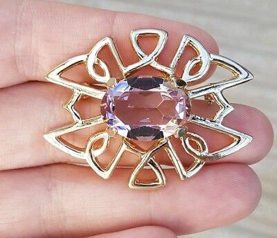 Vintage Art Deco Jewellery Pink Sapphire Crystal Ornate Gold Brooch Pin