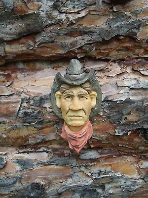 Original Wood Carving Cowboy Western Rodeo Red Bandanna Ooak  Scott Longpre