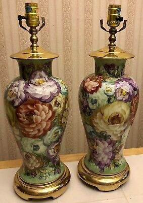 PAIR of Matching Vintage Hand Painted Roses Porcelain Table Lamps Floral