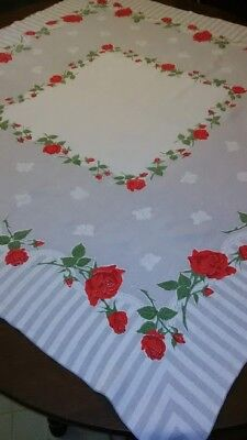 """Vintage Tablecloth, 1940's stamped cotton 47""""X49"""", white with grey & Roses"""
