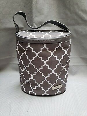 JJ COLE Insulated Bottle Cooler Bag W/ Ice Pack EUC Gray/White Lunchbag