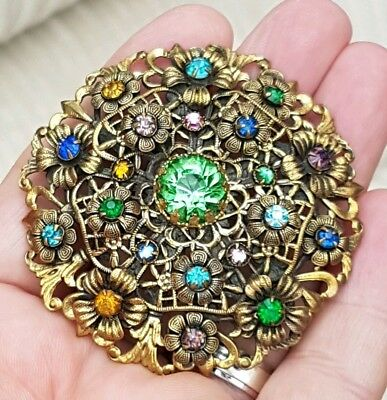 Vintage Czech Jewellery Beautiful Crystal Agate & Rhinestone Gold Brooch Pin