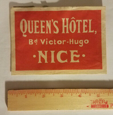 Queen's Hotel Victor-Hugo Nice France luggage tag suitcase sticker antique vtg