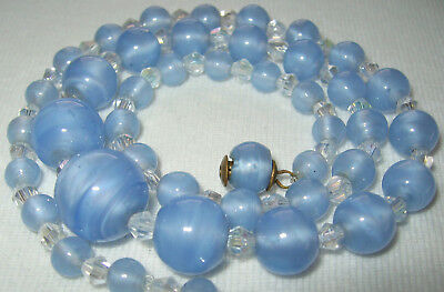 Beautiful Old Antique Vintage Art Deco Powder Blue Satin Glass Beads Necklace