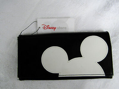 Disney Store Black & White Mickey Mouse Head Silhouette Faux Leather Wallet NEW