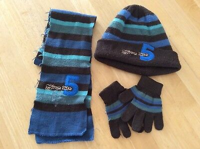 Boys Blue and Dark Coffee Brown Hat Scarf Gloves Set Age 4-5