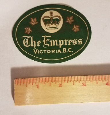 The Empress Hotel Victoria B.C. luggage tag suitcase sticker antique vintage