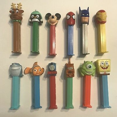 PEZ DISPENSER COLLECTIBLES Lot Of 12. Marvel, Walt Disney. Pre-Owned Condition