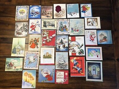 Vintage Lot of 29 1940s Christmas Greeting Cards WWII Era