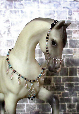 Beaded Arabian Presentation Halter and Collar Set for 1:9 Model Horses: Lt. Blue
