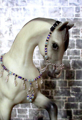 Beaded Arabian Presentation Halter and Collar Set for 1:9 Model Horses: Blue