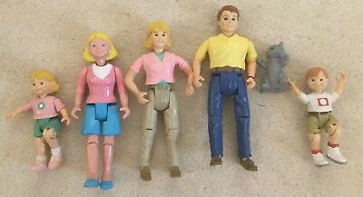 1998 Mattel Fisher-Price Loving Family Dollhouse Family Mom Dad 3 Kids And Cat