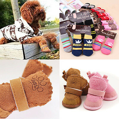 Winter Small Dog Boots Anti-Slip Puppy Shoes Pet Dog Protective Snow Booties New