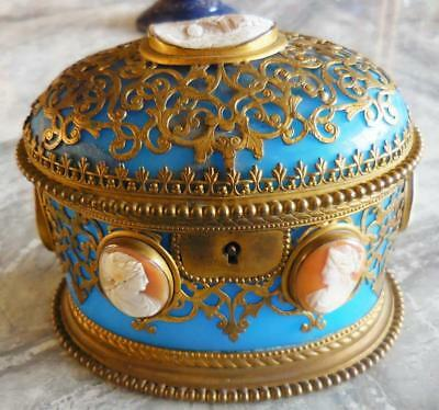 Stunning Antique French Blue Opaline Glass + 7 Cameos Gilded Jewelry Casket 1860