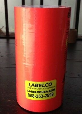 Fl. Red Labels For Monarch 1131 Price Gun New 8 Rolls Of 2500