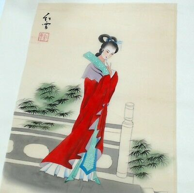 2x Mid 20th Century 1950-1960's Japanese Silk Prints #752