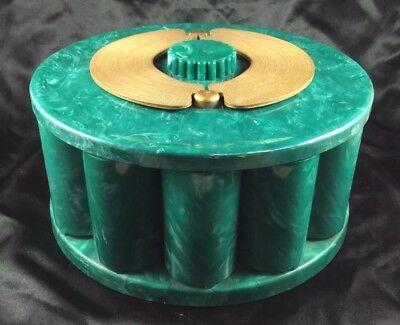 Vintage Turnit Poker Chip Rack Caddt Mid Century Modern Marbled Green