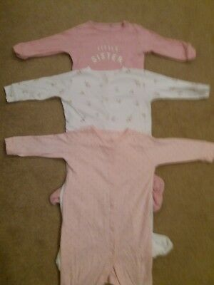Baby girls bundle sleepsuits babygros x 3 all Next age 9-12 months little sister