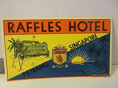 "SINGAPORE ""RAFFLES HOTEL"" LUGGAGE LABEL for Vintage Steamer Trunk 1900's Tag"