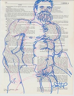 Male Nude Sharpie Drawing on Recycled Bible Pages- Signed by Artist