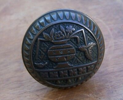 Antique Victorian BRASS DOOR KNOBS, Eastlake BROKEN LEAF Pattern Door Knobs 1880