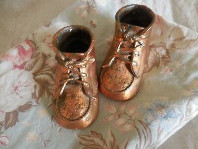 "Vintage Bronze Baby Shoes Photo Prop Baby Shower Gift 2"" x 4"""