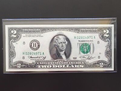 """1976 $2 TWO DOLLAR BILLS ( St Louis """"H"""" ) UNCIRCULATED"""