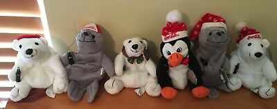 "Lot of 6 6"" Coca Cola plush bean animals - 3 bear, 2 seal, and 1 penguin"