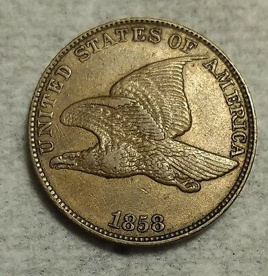 About Uncirculated 1858 LG Letters Flying Eagle Cent! PQ piece w/ light luster!