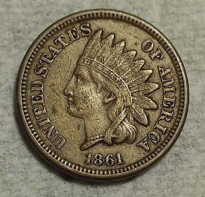 Extra Fine 1861 Indian Head Cent! Scarce date with strong details!