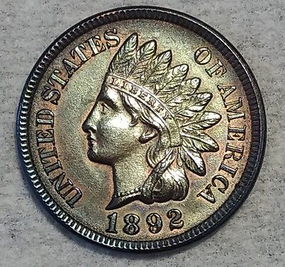 Brilliant Uncirculated 1892 Indian Head Cent! Beautifully toned piece!
