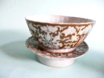Antique Chinese Porcelain Rice Bowl & Stand Base...........ref.1274
