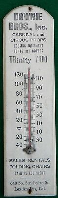 Vintage Downie Bros Wood Thermometer Carnival & Circus Props Tents