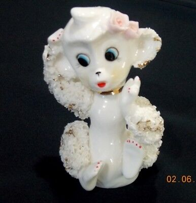 "Vintage White Spaghetti Rose Poodle Dog Figurine UCAGCO Ceramic Japan 5"" 1950s"
