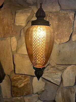 "Vintage MCM Amber large 22""  swag lamp light & diffuser new wiring chain socket"