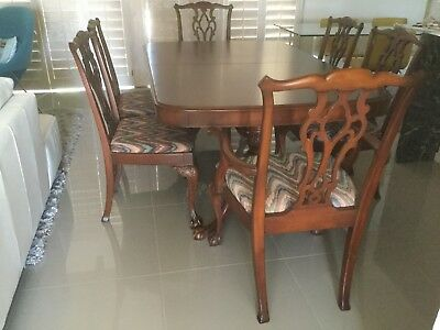 Solid Mahogany Dining Room Set 8 pcs. Table 6 Chairs Buffet/Sideboard