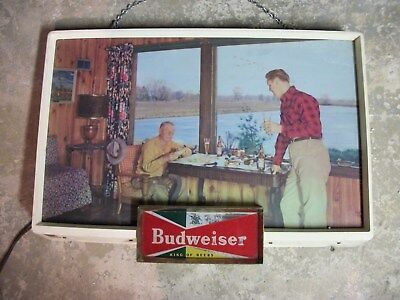 1950's BUDWEISER REVERSE LIGHTED SIGN-LAKE HOUSE-CABIN SCENE-RARE and NICE