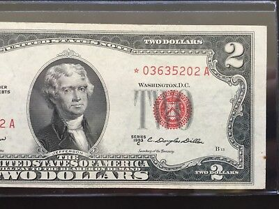 1953 C STAR $2 TWO DOLLAR BILLS ( Red Seal) CIRCULATED
