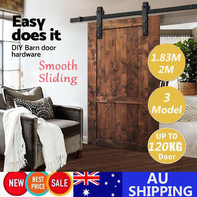 1.83/2M Sliding Barn Door Hardware Track Set Home Office Bedroom Interior Closet