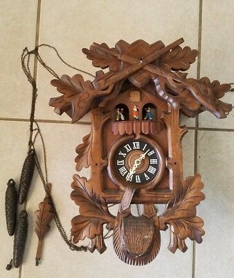 Vintage Cuckoo Clock w/ Regula & Cuendet Swiss Musical Movement 3 Pine Cones